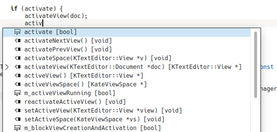 Screenshot of Kate search and replace tool