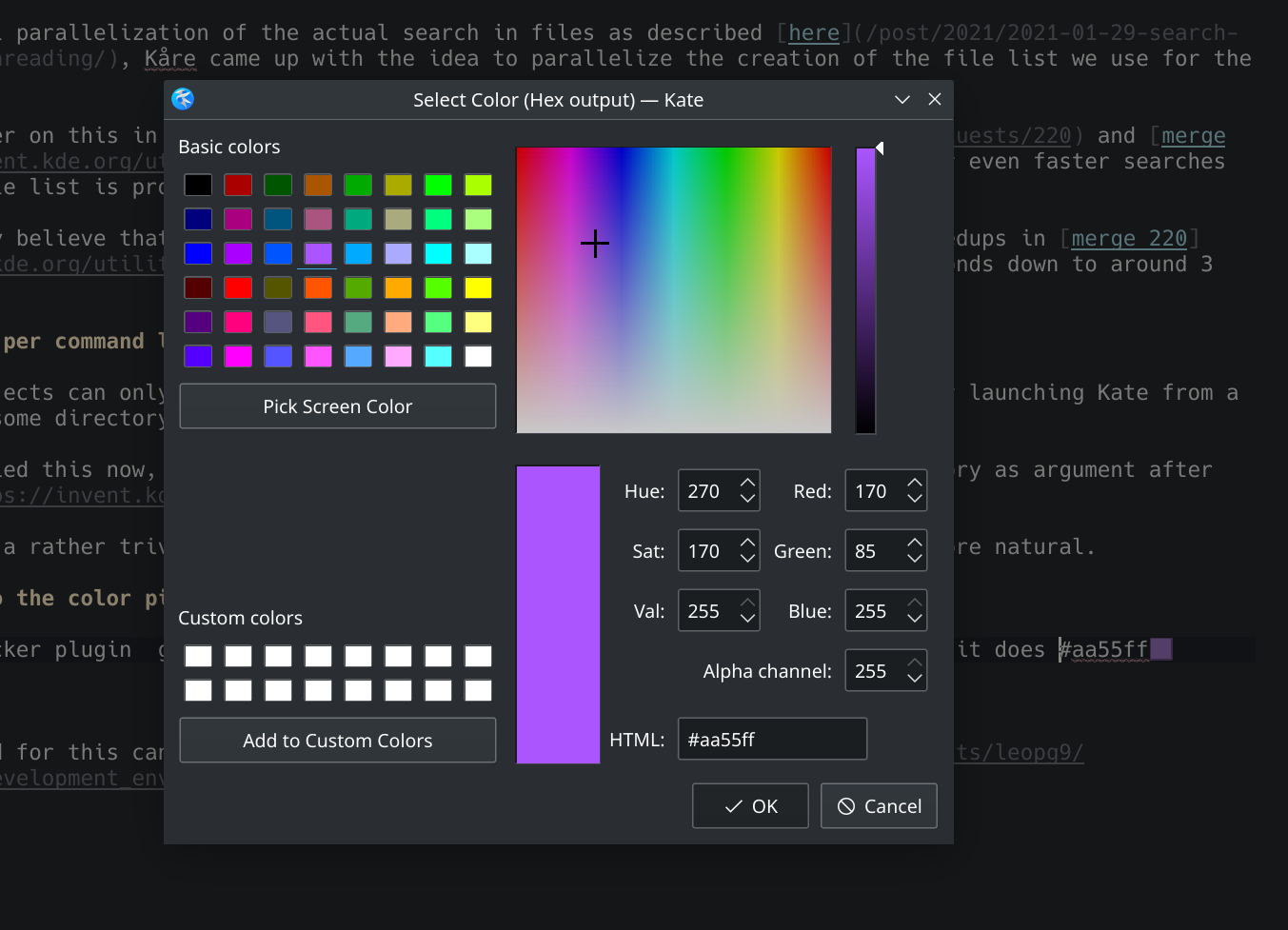 Screenshot of Kate color picker