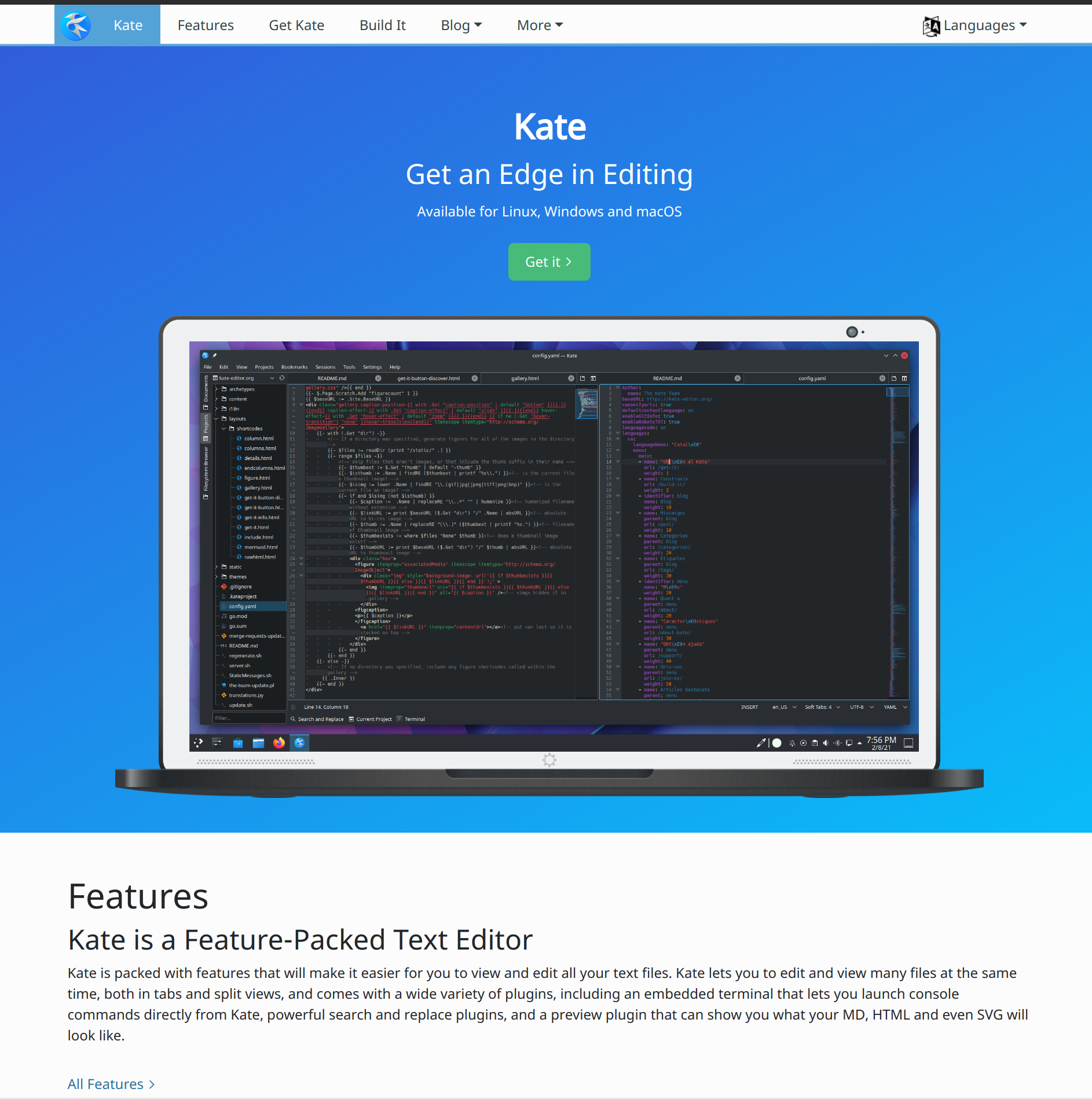 Screenshot of Kate website