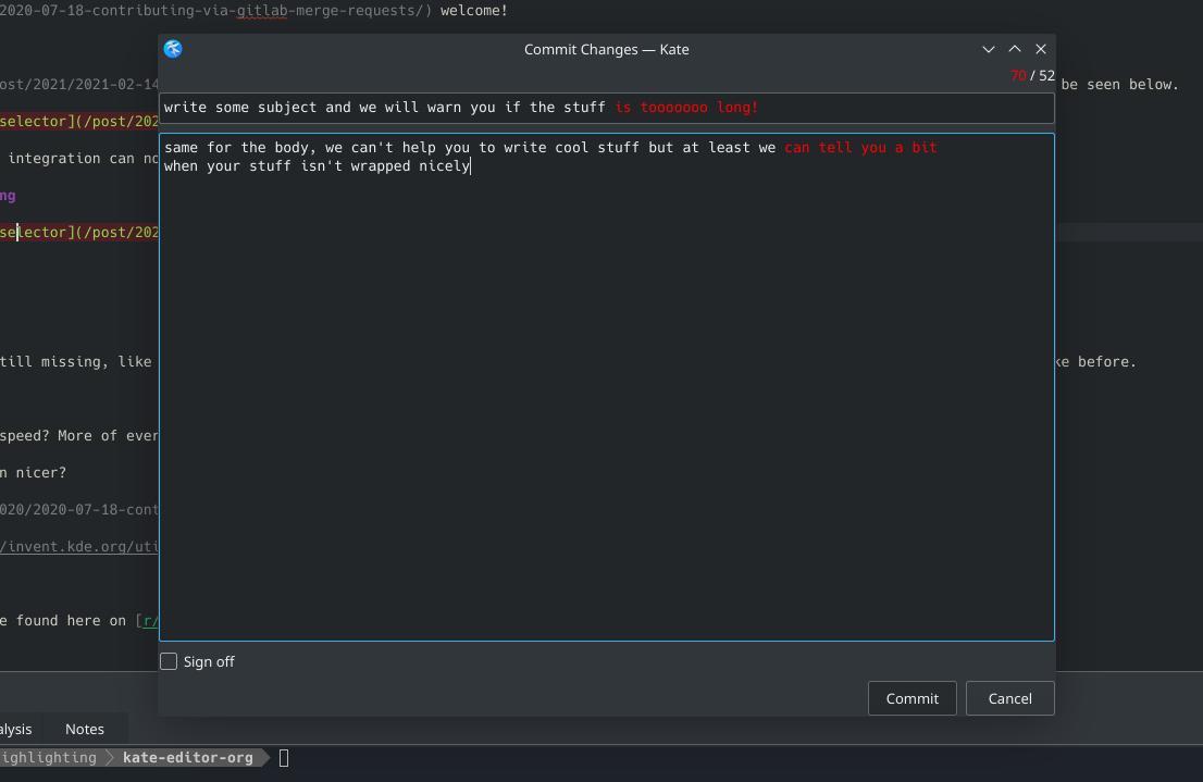Screenshot of Kate Git commit dialog