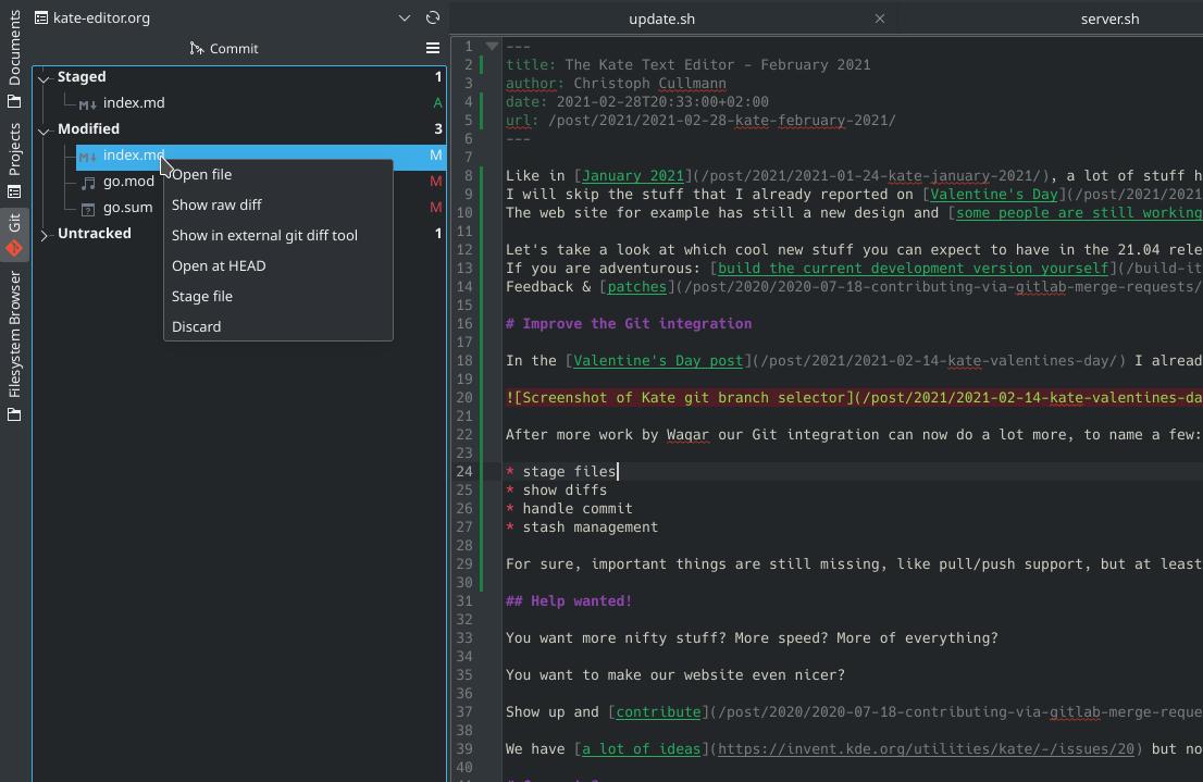 Screenshot of Kate Git diff/staging context menu