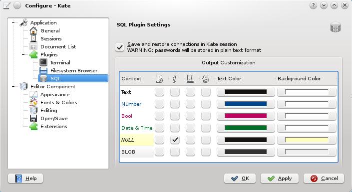 KateSQL Configuration Dialog