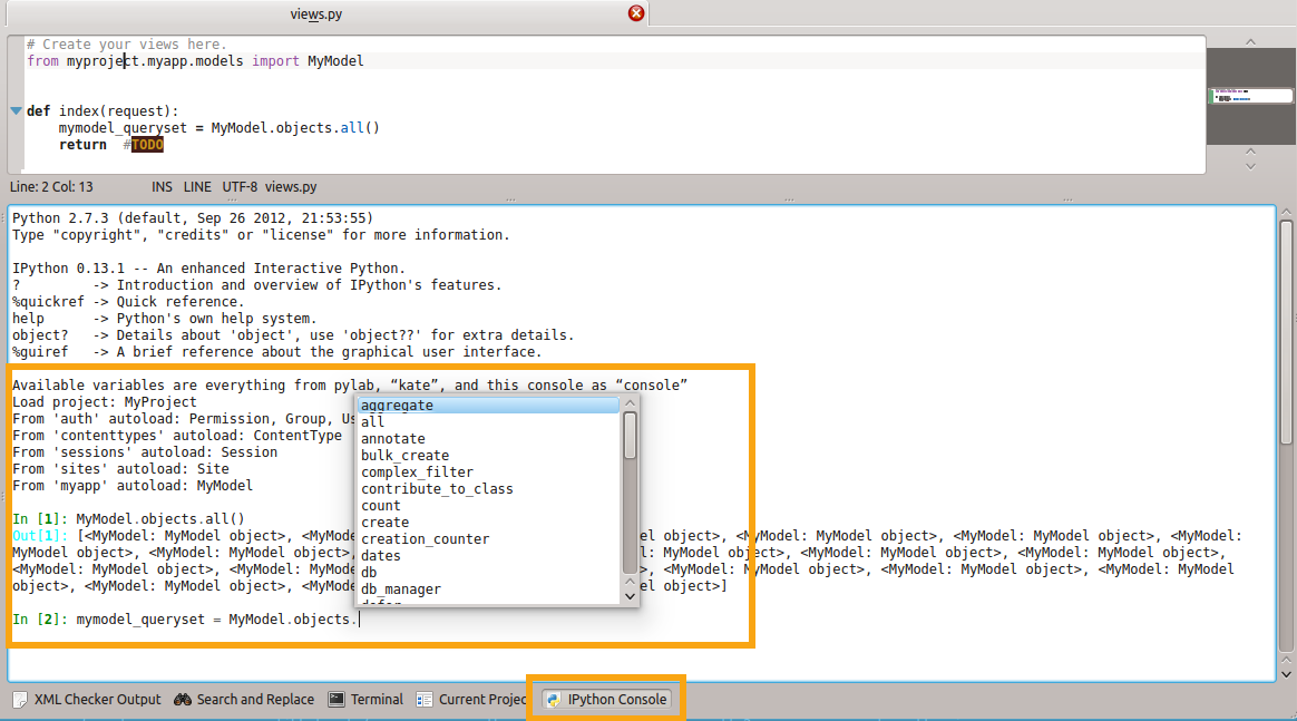 A rich python console and more in Kate editor - Kate | Get