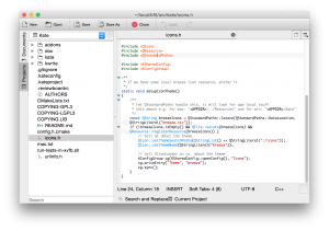 Kate with Project Plugin on Mac