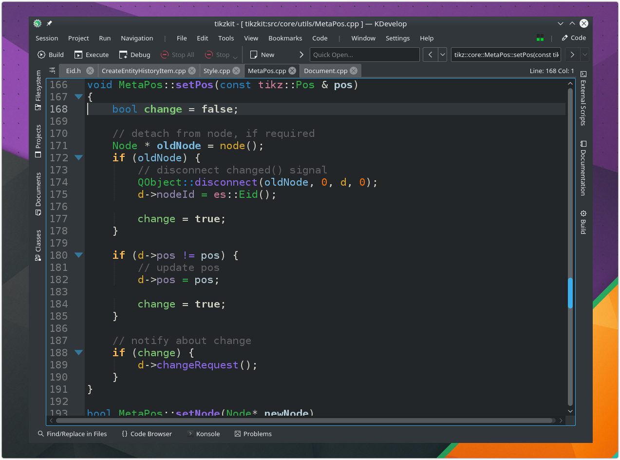 KDevelop 5 with Breeze Dark
