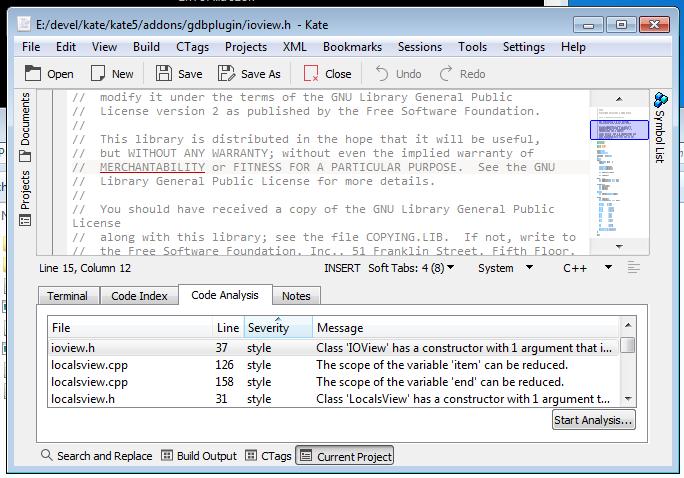Project plugin analyzing code